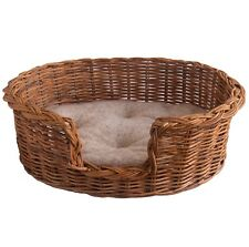 Extra Small Classic Rattan Wicker Dog Basket Bed with fitted Fleecy Cushion