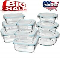 Glass Food Storage Containers with Lids, [18 Piece] Glass Meal Prep Containers,