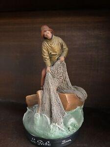 Ancienne Statuette Terre Cuite La Pêche Dinan Numerote Signe Hanne ? Deco Mer
