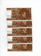 Lot 5 billets de 10 Francs BERLIOZ Consécutifs FRANCE 1977 F.63.22