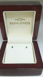 18K Yellow Gold & Emerald Baby Earrings 0.10cts child friendly safe & secure