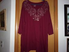 Catherines Red with Gold Design 3/4 Sleeve 2X