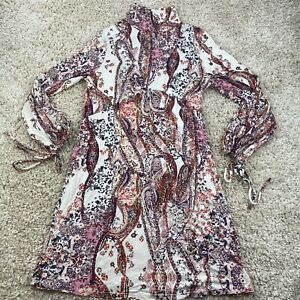 free people womens large all dolled up mini dress paisley ivory long sleeve