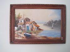 Attractive old oil painting, coastal estuary seashore boat