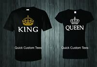 KING AND QUEEN T-SHIRTS COUPLE MATCHING LOVE VALENTINE CUTE FUNNY BEST PRICE