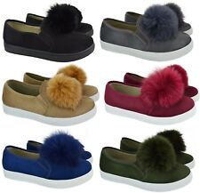 WOMENS LADIES POM POM LOAFERS STYLE SUEDE TRAINERS PUMPS FLAT HEEL SHOES SIZE