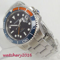 40mm PARNIS Schwarz dial Date Saphirglas GMT Automatisch Movement Uhr mens Watch