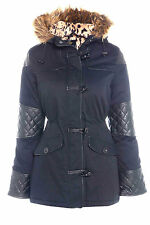 Button Faux Fur No Pattern Outdoor Coats & Jackets for Women
