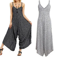 Women Striped Holiday Jumpsuit Romper Summer Baggy Wide Leg Trousers Plus Size