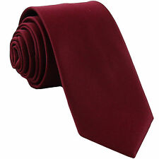 "New Polyester Men's 2.5"" skinny Neck Tie only solid formal wedding burgundy"