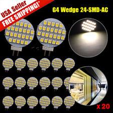 20x Warm White G4 24 SMD LED RV Camper Car Marine Landscaping Light Bulb Lamp