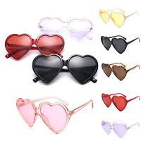 Women Retro Mirrored Sunglasses Oversized Heart Shape Glasses Eyewear