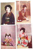 .SET of 4 VINTAGE JAPANESE GEISHA GIRL UNUSED COLOUR POSTCARDS.
