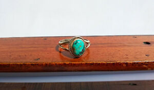 Vtg Navajo Artisan Old Pawn Sterling Domed Turquoise Cabochon Ring - Sz  9 1/2