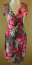 Joseph Ribkoff Pink Coral Taupe White Floral Summer Dress US 12 UK 14