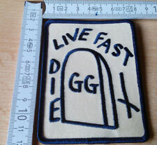 GG ALLIN LIVE FAST DIE OFFICIAL WOVEN PATCH WIFE BEATER MENTORS