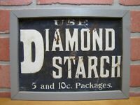DIAMOND STARCH Antique Embossed Tin Advertising Sign Tuscarora Ad Co Coshocton O