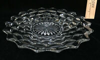 """Fostoria American Clear Glass Salad Plate Serving Tray Platter Cube 9"""" Vintage"""