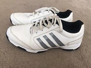 Adidas 3 Stripe Mens White Leather Golf Shoes Uk 11