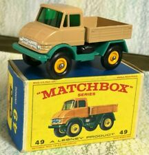 Matchbox Moko Lesney # 49b Mercedes Unimog MinNMB 4BPW beige turquoise