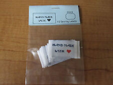 Lot of 10 HAND MADE With LOVE Fabric Sewing Labels