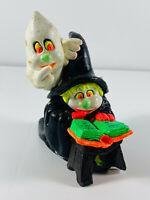 Vintage 60's Halloween Neon Witch & Ghost Chalkware Statue Sculpture