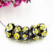 5pcs MURANO Lampwork charm Beads fit 925 silver European Bracelet Chain a299
