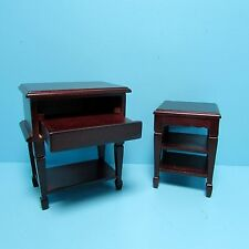 Dollhouse Miniature Computer Desk with Printer Stand in Mahogany ~ D1247