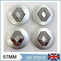 RENAULT ALLOY WHEEL CENTRE CAPS HUB 57mm 4 X SET MEGANE LAGUNA CLIO TWINGO
