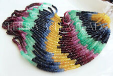 """8"""" precious SAPPHIRE RUBY EMERALD faceted rondelle gem stone beads 3mm - 4mm"""