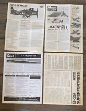4 Vintage Model Instruction Sheets Monogram B-29 & Dauntless, Revell US Gato