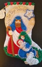 "Finished Bucilla "" Joy to the World 16"" Christmas Stocking - Handstitched"