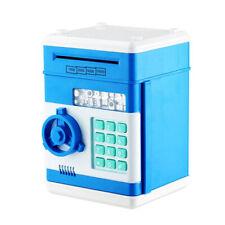Blue Digital Electric Piggy Bank ATM Cash Machine Coin Notes Money Saving Box UK