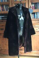 Vintage Faux Simulated Fur Coat / Jacket Ladies Long Brown