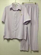 Womens 2 Piece Pant Suit Set Size M Petite Lavender White Stripes Bon Worth 85