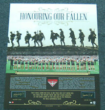 ESSENDON BOMBERS WATSON HIRD HAND SIGNED HONOURING OUR FALLEN 2015 ANZAC PRINT