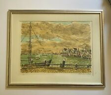 Maurice Boitel Signed Lithograph French Harbor Scene Framed