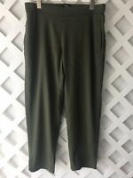Theory Thorina Pants Womens Size 6 Crop Pull On Green Linen Blend Pockets