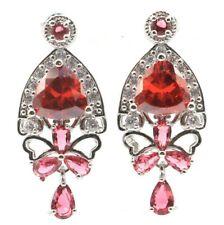 Multi Color Rhodolite Garnet Spessartine Garnet CZ Woman's Gift Silver Earrings