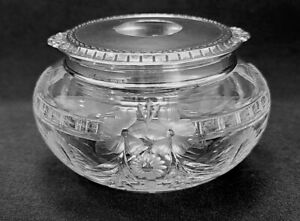 HAIR RECEIVER # 70 (Sterling Lid, Cut Glass Hollowware) by WALLACE SILVER