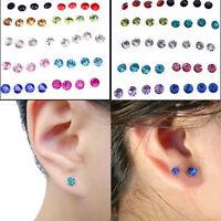 Lots Mixed 20 Pairs Crystal Rhinestone Plastic Round Stud Earrings Women Jewelry