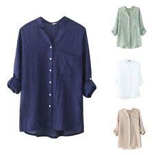 Women Loose Cotton Linen Blouse Long Sleeve Tops Casual Sheer Button Down Shirt