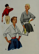 Vtg Factory Folded 1952  Beautiful Blouse Uncut McCall's 9179 Size 12 Bust 30