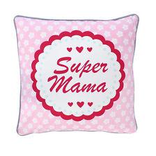"krasilnikoff Funda de cojín ""Super Mamá "" rosa, flores blanco, 50x50"