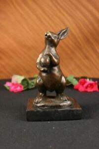 Handmade Milo Bunny W. Basket of Candy Bronze Art Deco Sculpture Figure Figurine