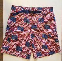 Cabela's Mens Sz 2XL Patriotic Stars And Stripes Board Shorts Surf Swim Trunks