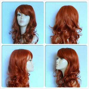 HIGH HEAT RESISTANT HAIR DRAG QUEEN COPPER RED LADY WOMEN DAILY FULL WIG UK