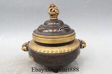 "7"" Chinese purple Bronze 24K Gold Flower Dragon Lion incense burner Censer"