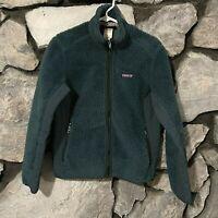 Patagonia Synchilla Vtg Women's Sz M Jacket Coat Teal Deep Pile Sherpa Full Zip
