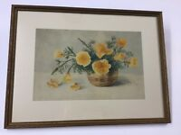 Listed California Artist Marie A. Ney Floral Watercolor
